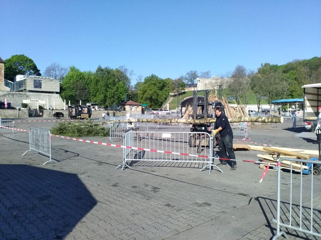 Maibaum Erfurter Domplatz Tanz in den Mai 2019 Erfurt