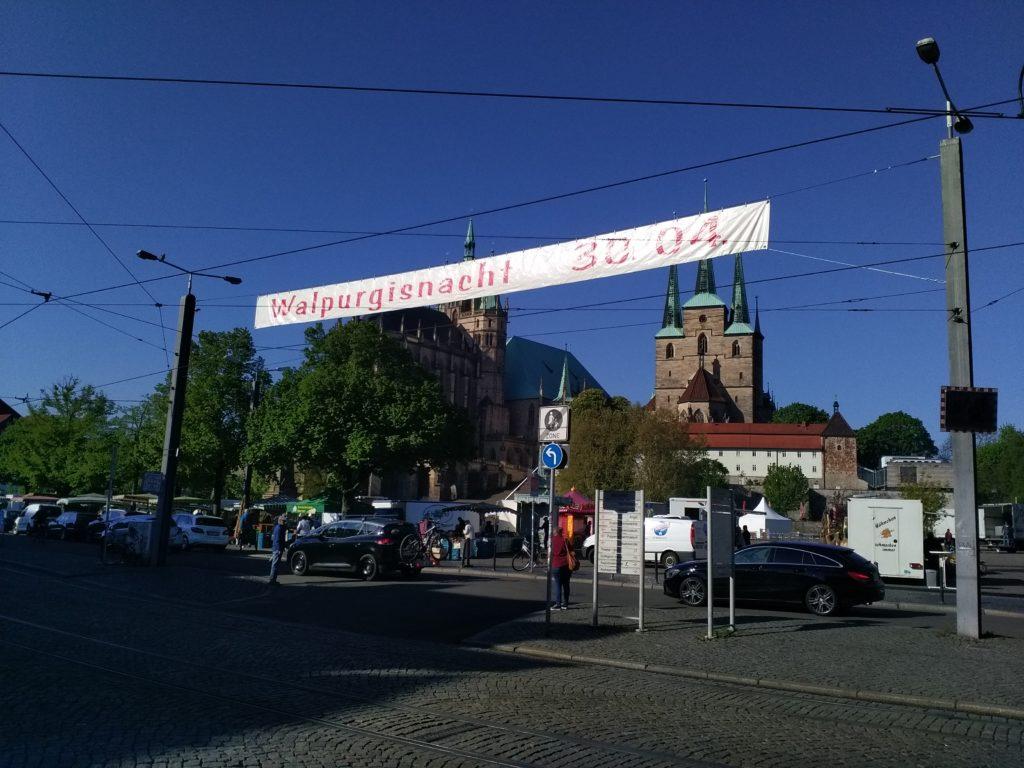 Einladung Walpurgisnacht 30. April 2019 Domplatz Dom Severikirche Maifest Tanz in den Mai Maifeuer Maifeier Maiparty Feuer Flammen Erfurter Altstadt Innenstadt