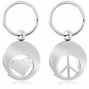 Schlüsselanhänger Herz Peace Einkaufswagenchip Metall zum Rausziehen