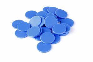 Einkaufswagenchips Kunststoff enzianblau
