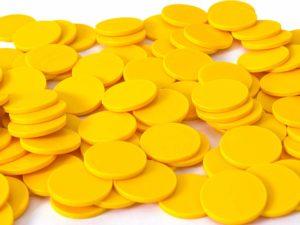 Einkaufswagenchips Kunststoff gelb