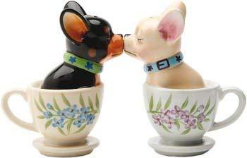 Chihuahua, Hundetassen in 3D, Pfefferstreuer, Salzstreuer, Keramik, Chihuahuas, Küssen, 3D Hundetasse, Deko, Funktion