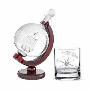 Whiskykaraffe Globus Schiff Whiskyglas Kompass
