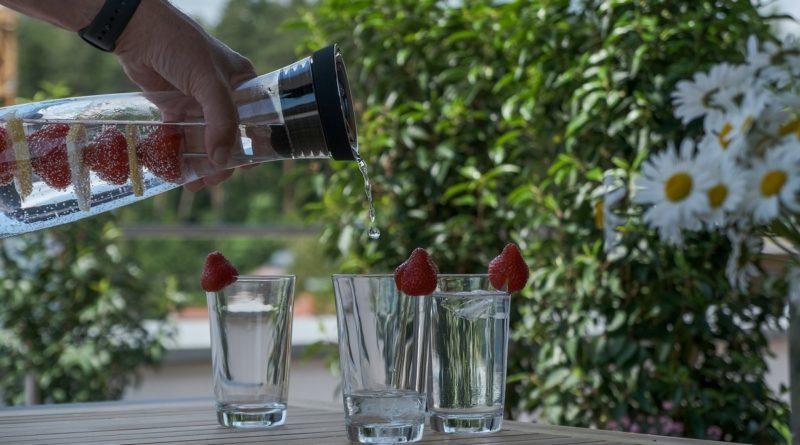 Wasserkaraffe mit Fruchtspieß